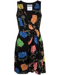 Moschino Платье С Принтом Biker Bag И Запахом - Черный