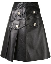 Proenza Schouler Button-embellished Pleated Leather Skirt - Black