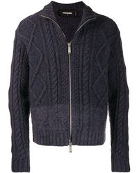DSquared² Cable Knit Cardigan - Blue