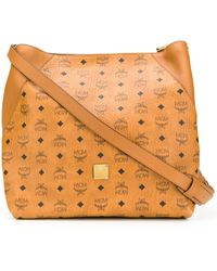 MCM All-over Logo Tote - Brown