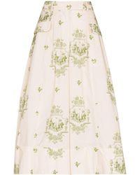 Simone Rocha Jupe-culotte ample à imprimé graphique - Neutre