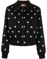 N°21 Star Print Bomber Jacket - Black
