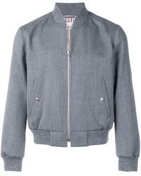Thom Browne Куртка С Отделкой В Рубчик - Серый