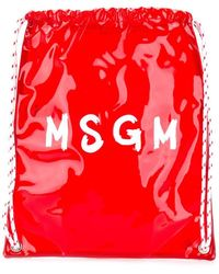 MSGM Contrast Logo Backpack - Red