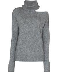 PAIGE Raundi Grey Cut-out Wool-blend Jumper