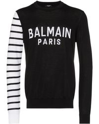 Balmain コントラストスリーブ セーター - ブラック