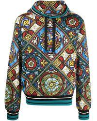Dolce & Gabbana Kapuzenpullover mit Glasfenster-Print - Blau