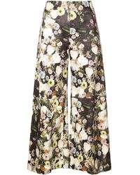 Adam Lippes - Floral Print Cropped Trousers - Lyst