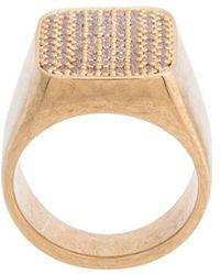 Balenciaga Strass Signet Ring - Metallic