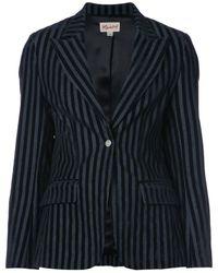 Miaou Striped Velvet Blazer - ブラック
