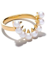 Tasaki 18kt Yellow Gold Danger Collection Line Akoya Pearl Ear Clip - Metallic