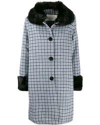 Charlotte Simone Faux Fur Trim Check Coat - Blue