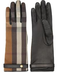 Burberry チェック 手袋 - ブラウン