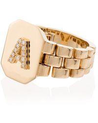 SHAY Bague en or 18ct à initial A orné de diamants - Métallisé