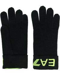 EA7 ニット 手袋 - ブラック