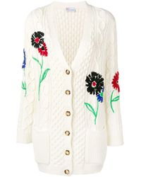 RED Valentino Embroidered Floral Cable Knit Cardigan - White