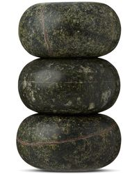 Tom Dixon Rock Set Of Three Candle Holders - Green