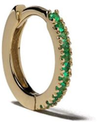 White Bird 18kt Gold Emerald Margot Medium Single Hoop Earring - Metallic