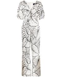Marchesa notte Leaf-print Jumpsuit - Multicolour