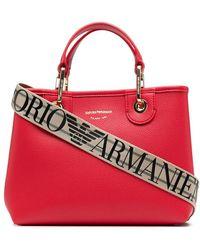 Emporio Armani Сумка-тоут Из Зернистой Кожи С Логотипом - Красный