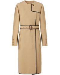 Burberry Lambskin Trim Technical Wool Belted Dress - Natural