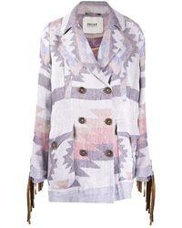 Bazar Deluxe Fringed -knit Cardi Coat - Gray