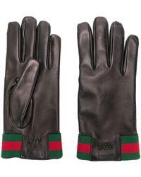 Gucci - Gants en cuir à détail Web - Lyst