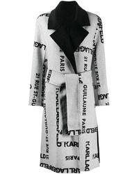 Karl Lagerfeld Manteau monogrammé à design réversible - Gris
