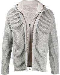 Herno Layered effect hooded zip-up jacket - Gris