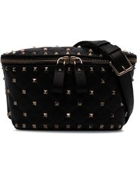 Valentino Garavani Rockstud Spike Leather Belt Bag - Black