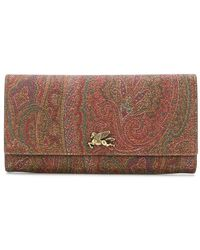 Etro Paisley-print Continental Wallet - Brown