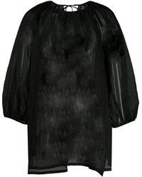 Uma Wang セミシアー サテンブラウス - ブラック