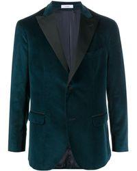 Boglioli Contrasting Lapel Velvet Blazer - Green