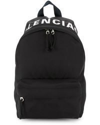 Balenciaga Wheel Logo Printed Backpack - Black