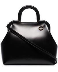 Jil Sander Clover Leather Tote Bag - Black