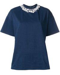 Christopher Kane Pearl Embellished T-shirt - Blue