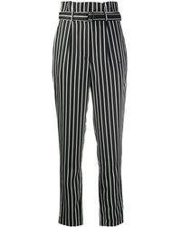 Calvin Klein ストライプ ハイウエストパンツ - ブラック