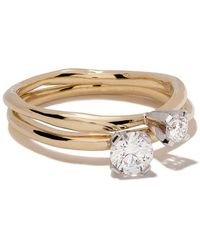Wouters & Hendrix 18kt Wit- En Geelgouden Ring - Metallic