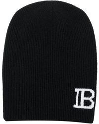 Balmain Bonnet à logo - Noir
