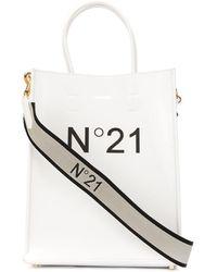 N°21 Printed Logo Tote - White