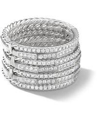 David Yurman 18kt White Gold Diamond Stackable Ring - Metallic