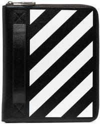 Off-White c/o Virgil Abloh Striped Leather Clutch Bag - Black