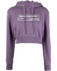 Heron Preston Logo-print Cropped Hoodie - Purple