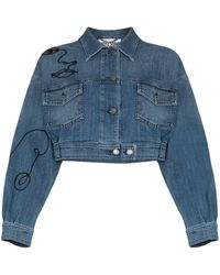 Moschino Embroidered Denim Jacket - Blue