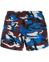 Prada Zwembroek Met Camouflageprint - Rood