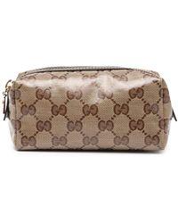Gucci GG Monogram Logo Make-up Bag - Brown