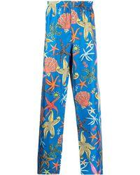 Versace Пижамные Брюки С Принтом - Синий