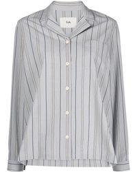 Folk Pyjama-stripe Long-sleeve Shirt - Grey