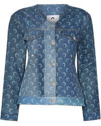 Marine Serre Джинсовая Куртка Из Переработанного Хлопка С Принтом Moon - Синий