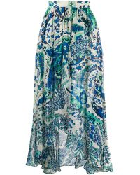 Twin Set Paisley Print Maxi Skirt - Blue